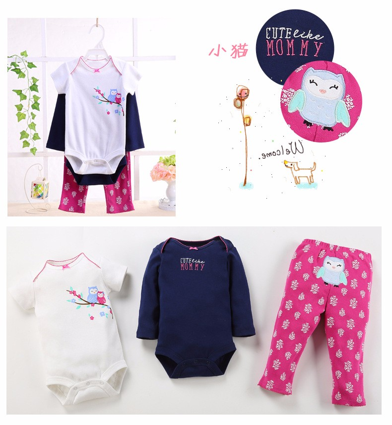 Baby wear clothes China wholesale newborn baby short sleeve bodysuit and pants 3 pieces set embroidered