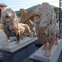 Sunset red lion sculpture life size polished natural stone lion statue
