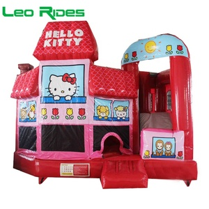 Hello Kitty inflatable bouncer slide plato PVC 0.55mm commercial inflatable jumping house for children