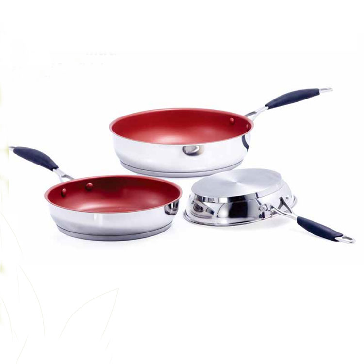 Fashion Colour Coating Interior Best Saucepan Long Handle Pots And Pans Stainless Steel Ceramic Coating Deep Frying Pan