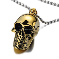 Gothic Punk Mens Gold Skull Pendant Stainless Steel Necklace High Polished with 23.6 in Ball Chain