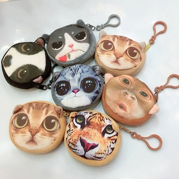 Custom design high quality useful plush change purse 3D fashion animals toy bags cute cartoon bags wholesale