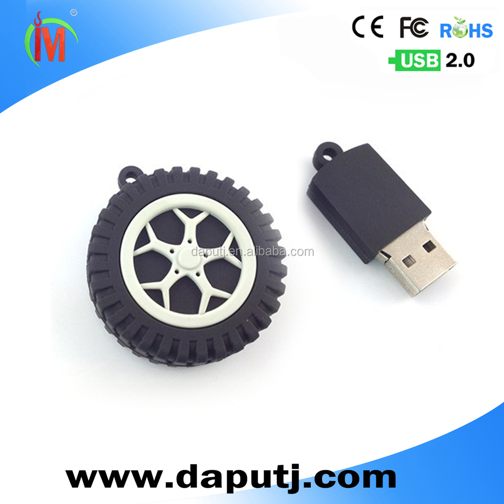 car accessories wheel shape usb flash drive pvc customized usb pen drive