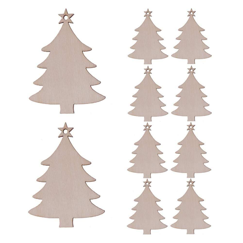 Vipeco 10pcs Carved Wooden Christmas Tree Hanging Pendant Ornaments Xmas Decor(2)