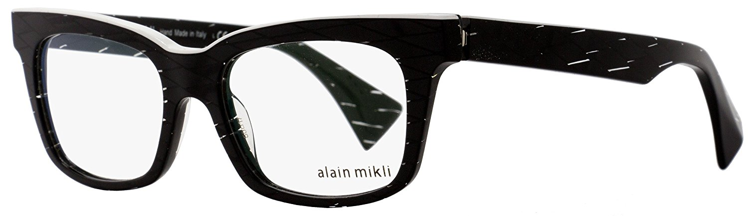 e2ebc07028187 Get Quotations · Alain Mikli Rx Eyeglasses Frames A03021 C015 50x17 Black  Diamond White Italy