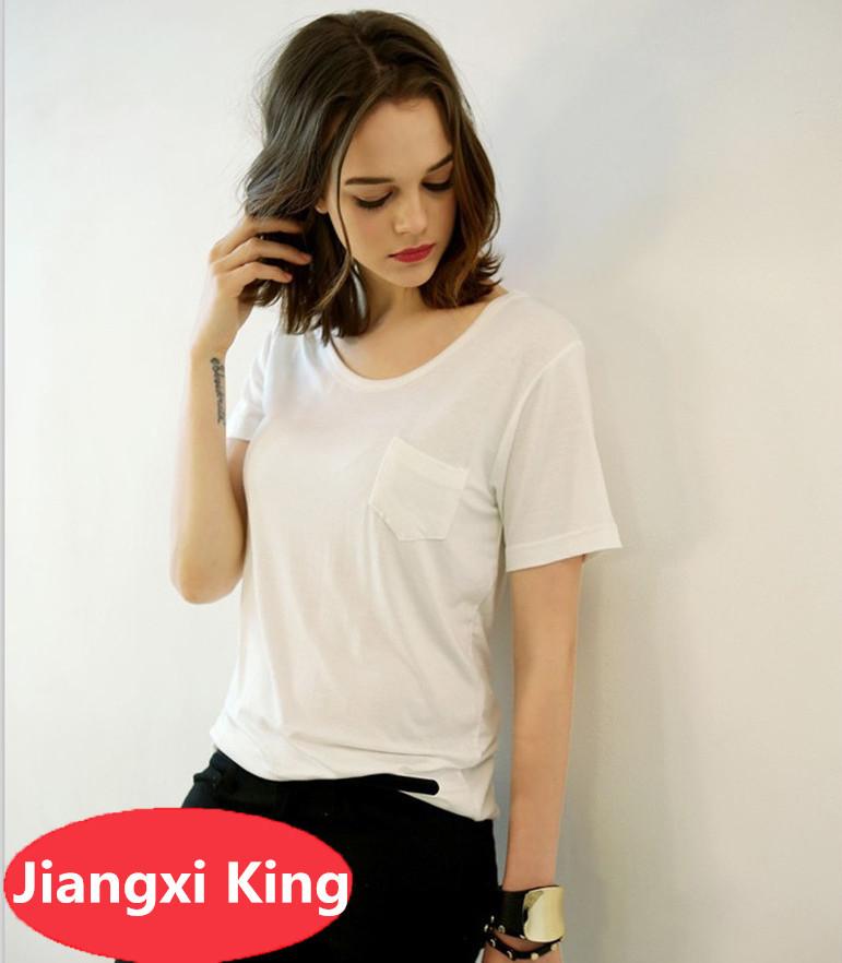 New model girls plain black scoop round neck t shirt 100 for Plain t shirt model
