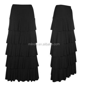 061f4bb7111aa0 Stylish women custom maxi skirt ladies ruffle tiered layer long classic  black solid color skirt