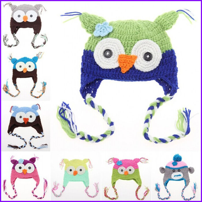 100% handcrochet cute animal baby hat in stock baby owl hat with tassel