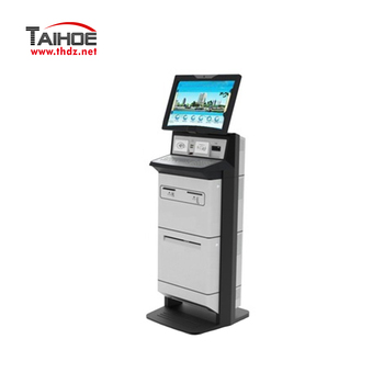 Multi-function customizable integrated self service check out kiosk with touch screen, printer, card reader