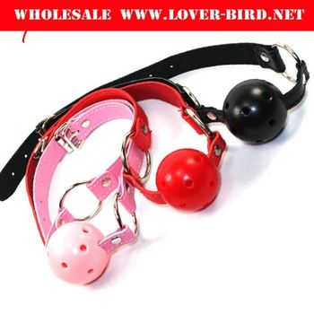 Black Red Pink PU Leather Breathable Open Mouth Ball Gag Harness Collar Kit Sexy Toy Adult Games Sex Products