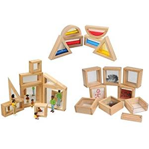 22 pc. Set of Specialty Unit Blocks Including Glitter Water Blocks, Disconvery Windows and Mirrored Blocks