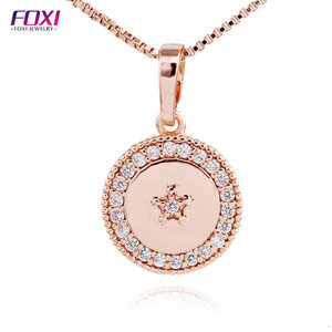 Christmas Edition Adjustable Chain Circle Necklace Pendant Glowing Rose Gold Necklace