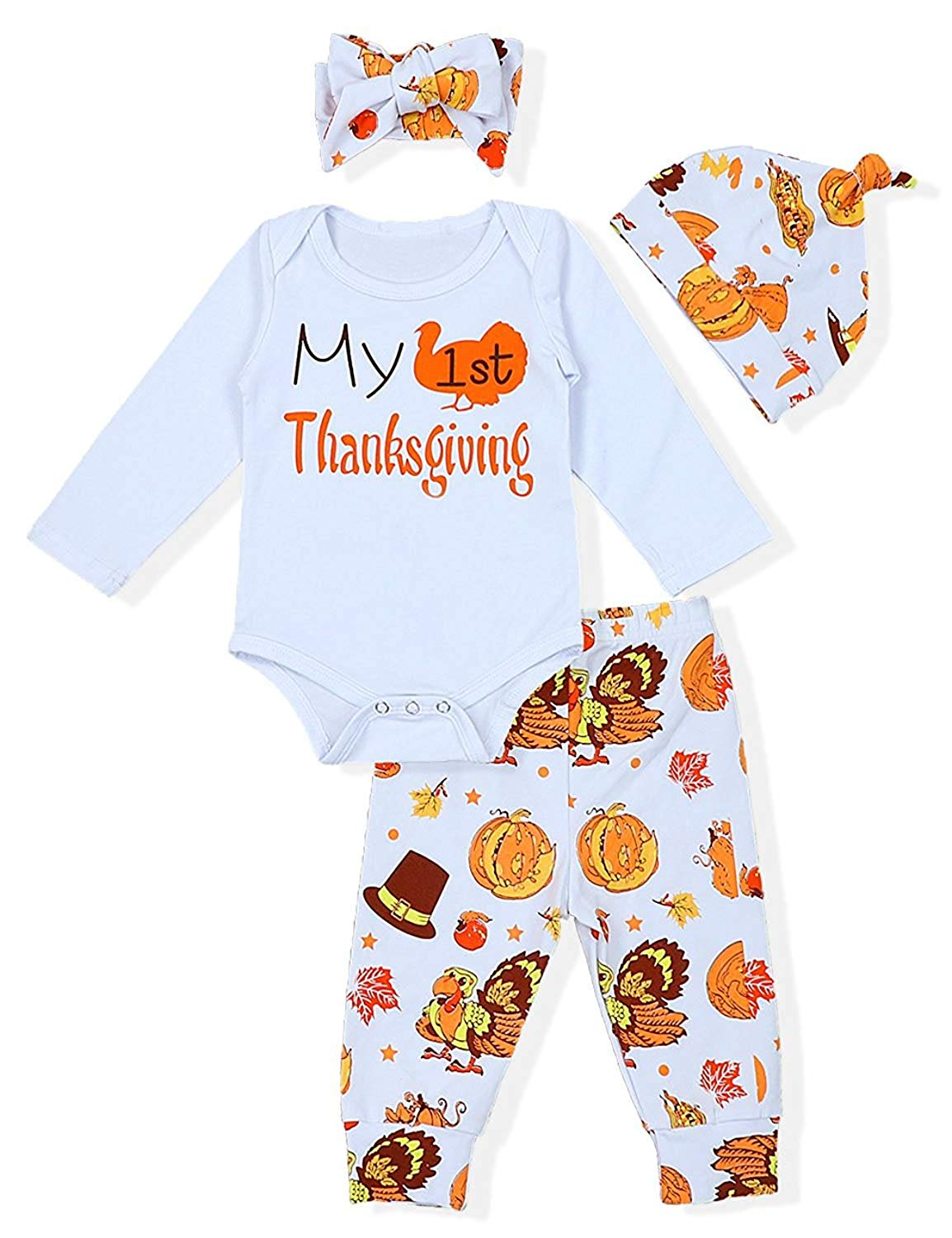 5a2930ff6489 Get Quotations · Baby Boy Girl Thanksgiving Outfit My 1st Thanksgiving  Print Bodysuit+Hat and Headband Turkey Pant