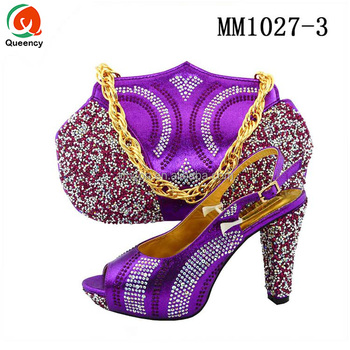 fa48f94de71 MM1027 Queency African Fashion Ladies Nigeria Party Elegant High Heel  Matching Shoes and Clutch Bags Set