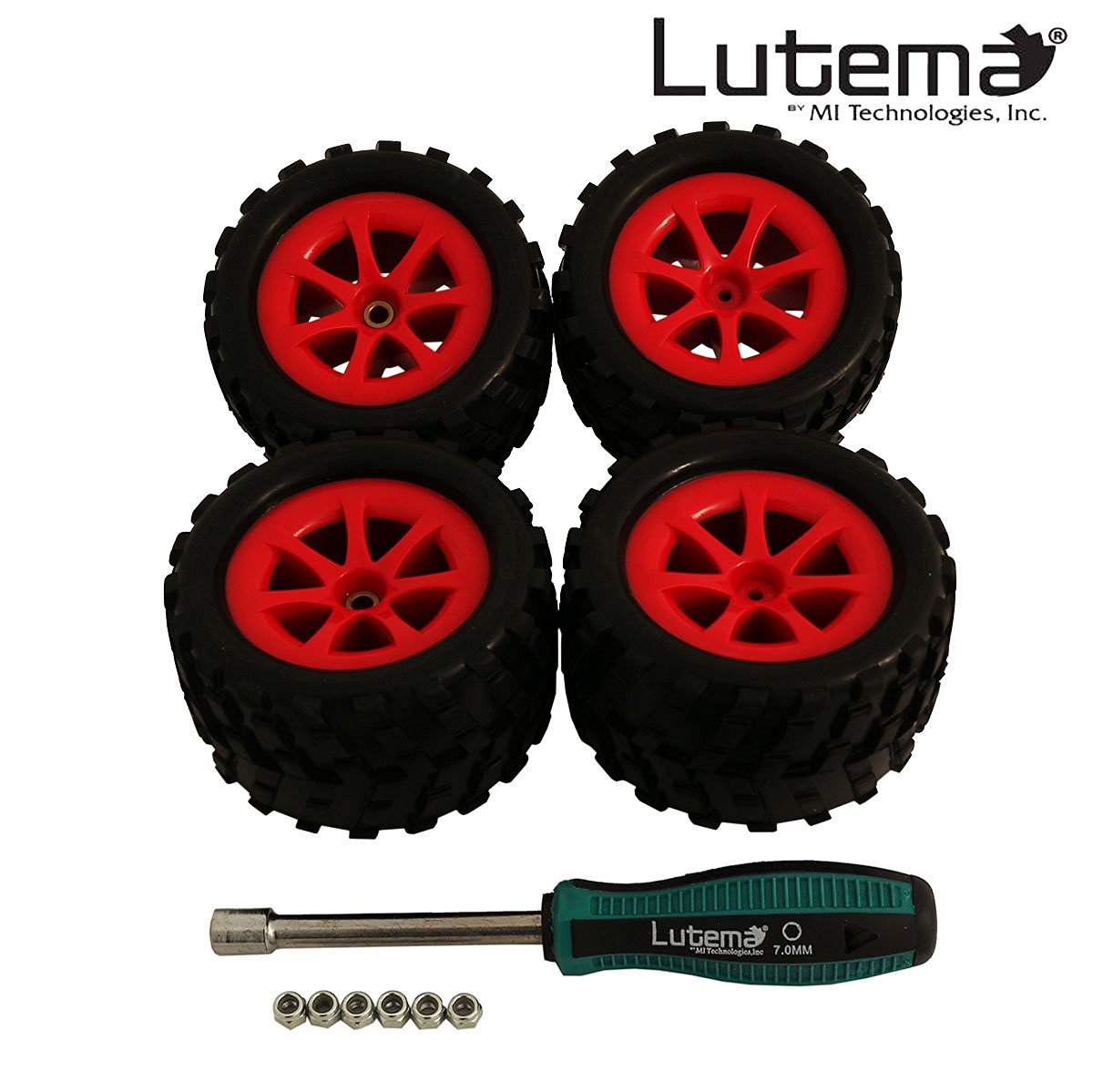 Lutema Hyp-R-Baja 2.4Ghz Big Bruiser Complete Set of Color Wheels With Tires - Red