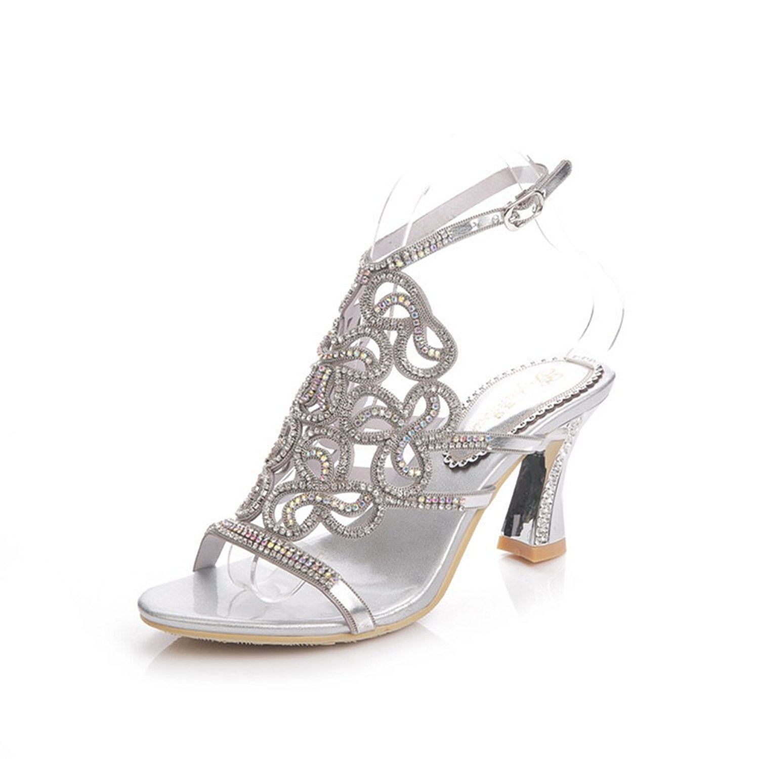 658225ab5d2b Get Quotations · Cai New Shoes High Heels Rhinestone Lady Summer Sandals  Diamond Sandals Small Size 34 Large Size