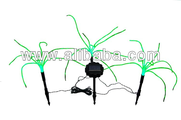 Solar Green Grass Fiber Optic Lights, a Sprig of 3