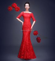 28503840622 Bridal King toast fishtail wedding evening graduation lace one shoulder  wedding Evening Dress Maxi Dress Party