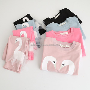 2017 Autumn Gilrs' Cotton Shirt and Pants with Swans Pattern Children Suit On Sale