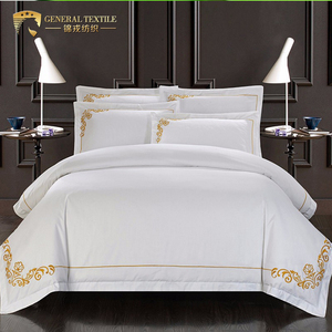 Luxury 100% cotton twin size 250 thread count 4pcs bedding sets for hotel