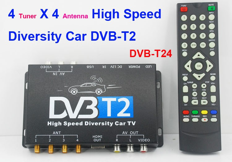 DVB-T24 Car DVB-T2 <strong>TV</strong> Receiver 4 <strong>Tuner</strong> 4 Antenna dvb-t to rf modulator powervu <strong>set</strong> <strong>top</strong> box