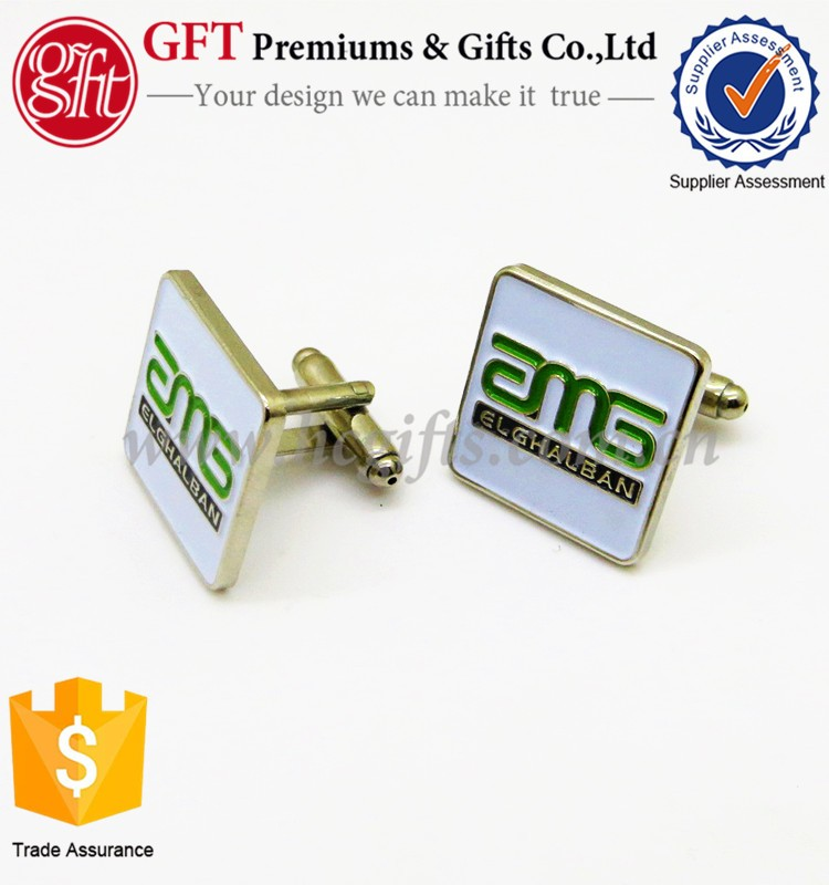 Promotion Gifts Square Cufflinks Enamel Paint Silver Cuff links GFT-CF66