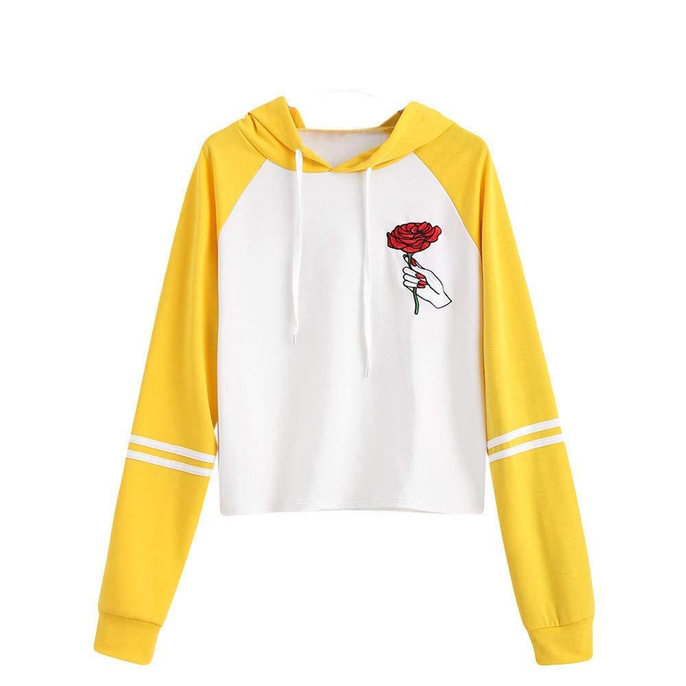 Women Teen Girls Embroidery Rose Printed Hoodie Sweatshirt Cuekondy Striped Long Sleeve Patchwork Hooded Pullover