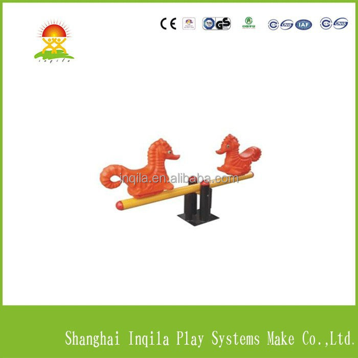 Outdoor playground games animal style kids plastic sea horse seesaw