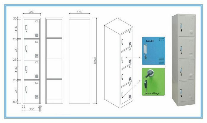 Colorful Stainless Steel Locker Self Storage Lockers Customized Single Metal With High