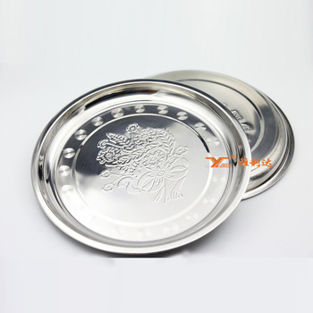 Wholesale bulk Round Shape 304 Stainless Steel commercial dinner plates with custom logo & Wholesale Bulk Round Shape 304 Stainless Steel Commercial Dinner ...