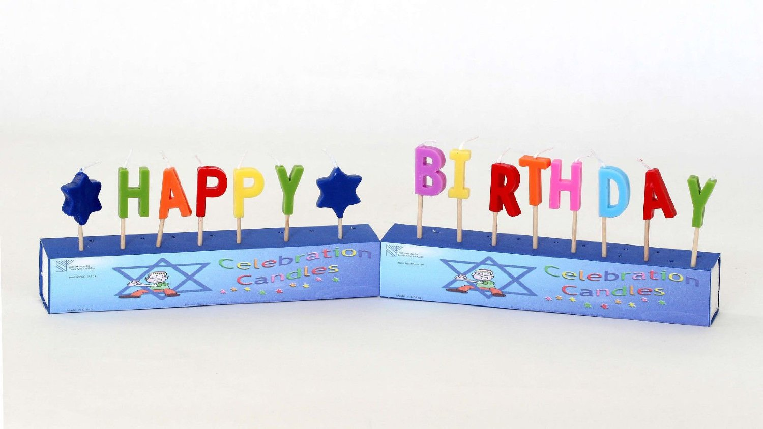 """Details about Jewish """" Happy Birthday """" 15pc candles Letters Party, Star of David, Cake Decor"""