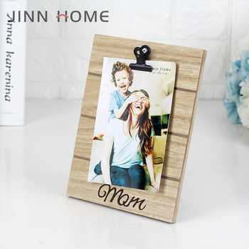 Customized Desktop Lasing burly wood solid wood Clip Photo Frame for Family Mother's day gift