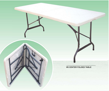 Cheap White outdoor rectangular foldable HDPE Plastic Folding camping dining Table