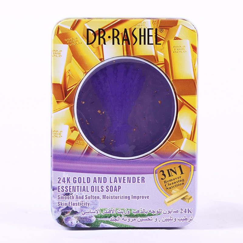 DR.RASHEL 24 K Gold Lavender Moisturizing Smooth Soften Essential Face Soap Oil Soap