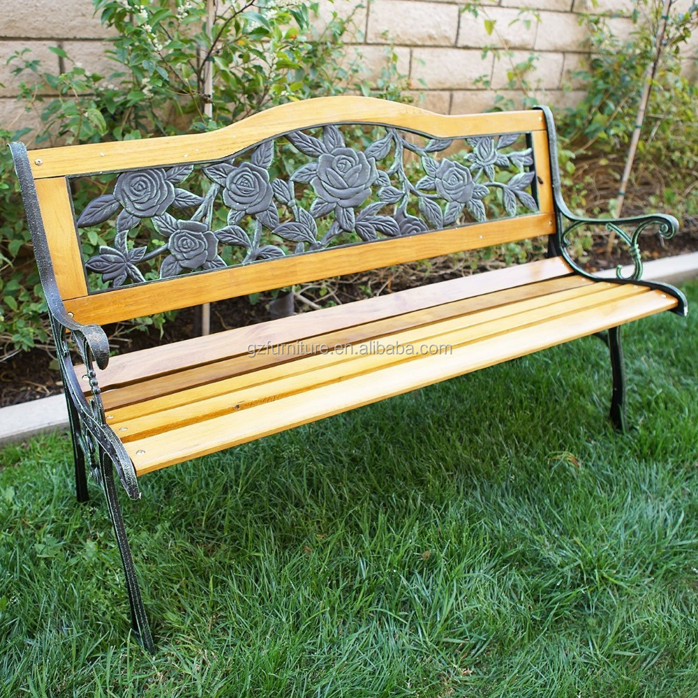 Rose Pattern Modern Garden Benches Cheap Cast Iron Wood