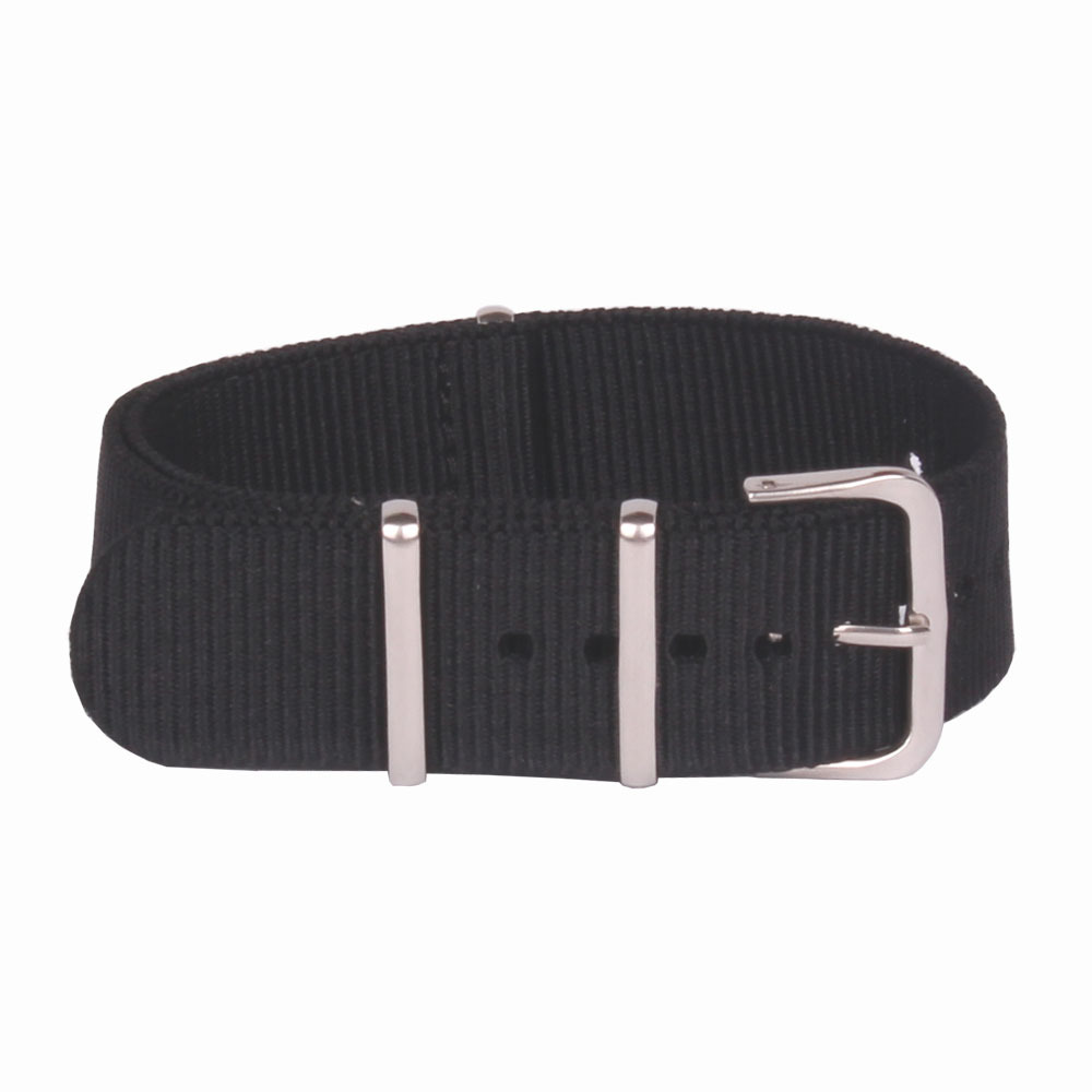 Wholesale Hot Sale Solid Black 16mm Army Military Bracelet Nato watches strap Belt Nylon Woven Fiber watchband 16 mm Buckle