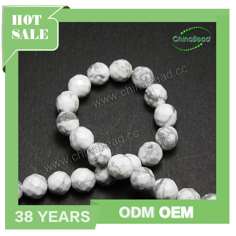 Natural gem stones beads, semi-precious white howlite stone beads for jewelry making