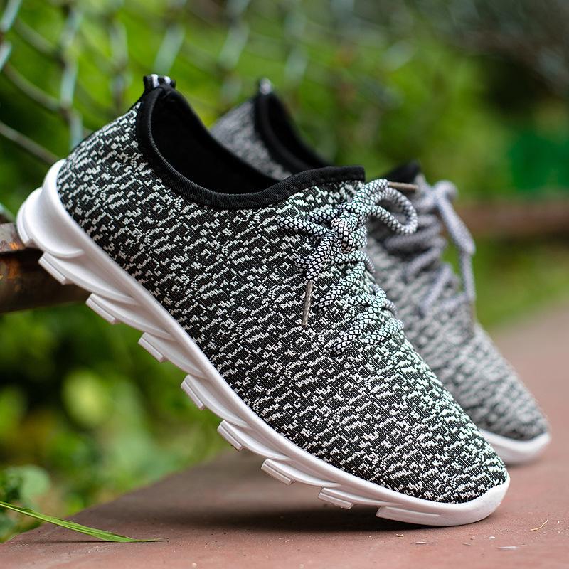 Nuevos zapatos deportivos para hombres en primavera y otoño, bajo mano jogging zapatos transpirable de punto zapatos hoja Calzado