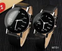Party male and female fashion mix colored english letters black leather strap watch