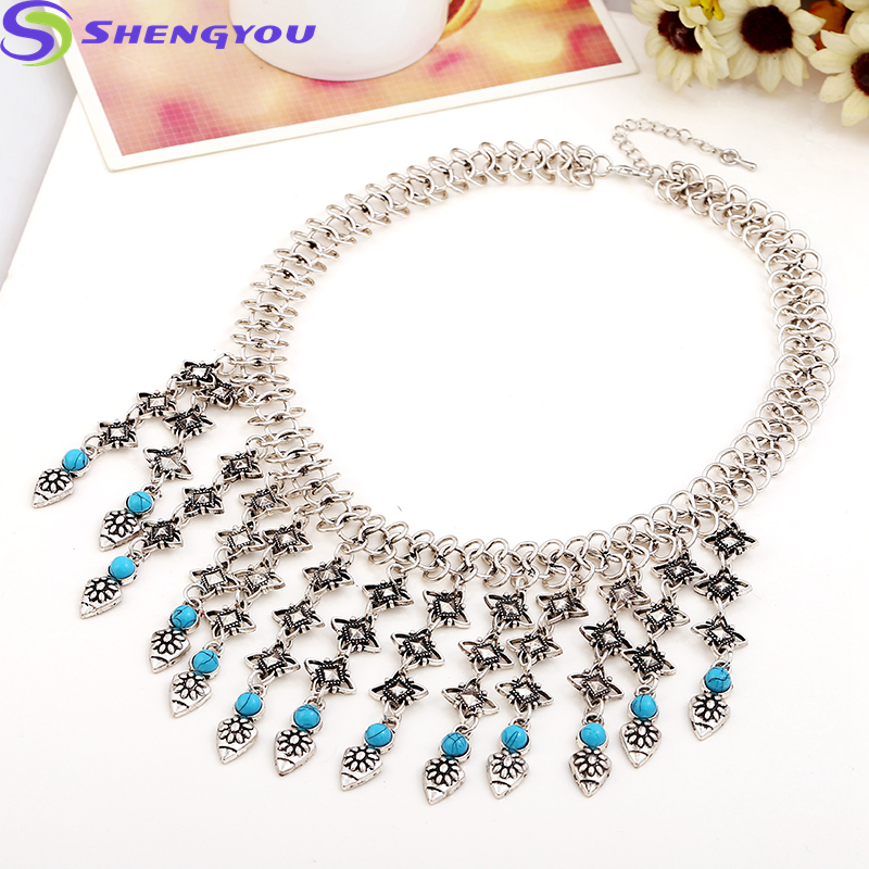 Indian Jewelry Double Silver Chain Multilayer Turquoise Stoned Beaded Necklace