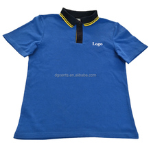 Customize differnt color collar and cuff cotton pique ladies polo t shirt embroidery