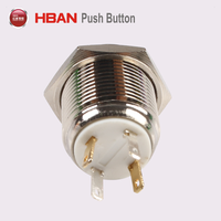 CE RoHS UL Electric led illuminated 12mm 16mm 19mm 22mm on off pushbutton metal waterproof momentary latching push button switch