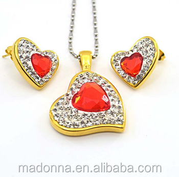 Lovely Heart Red Crystal Stone Stainless Steel Jewelry Set For Women