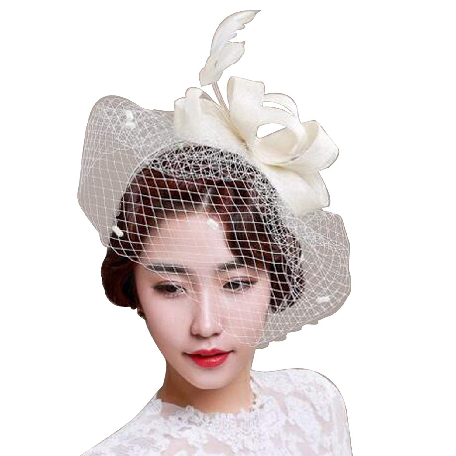 a00e1413 Get Quotations · Dovaly Womens Fascinators Hat Bridal Black White Feather Party  Headdress with Veil