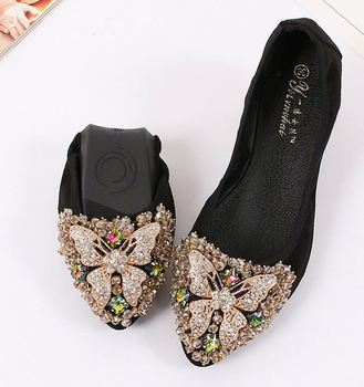 d14f74bc633138 New Women Crystal Ballet Flats Folding Shoes 2017 Casual Rhinestone Soft  Driving Egg Rolls Boat Shoes