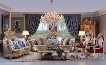 Baroque Style Living Room Sofa Set Wood Carving Living Room