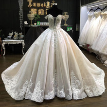 LUWEIYA Shining Đính Cườm Tuyệt Đẹp Off-VAI Cathedral Train Champagne Bridal Dress <span class=keywords><strong>Wedding</strong></span> Gown