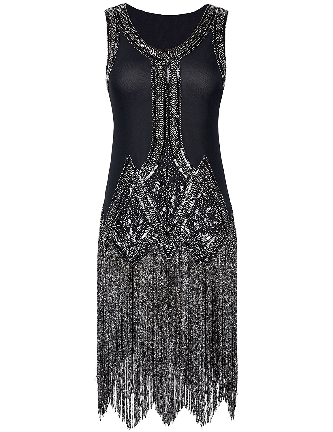 Get Quotations · PrettyGuide Women s Gatsby Dress 1920s Beaded Fringed Inspired  Cocktail Flapper Dress a3d39561870a