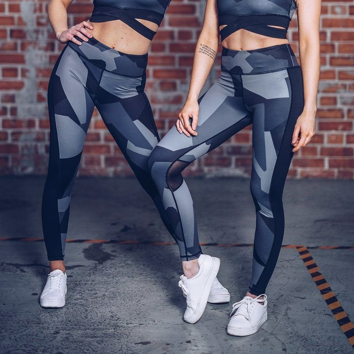 35aa609444 ... 2018 New Fashion Women Sexy Blue Stretchy Skinny Supplex Gym Fitness  Workout Leggings Trousers With Sheer