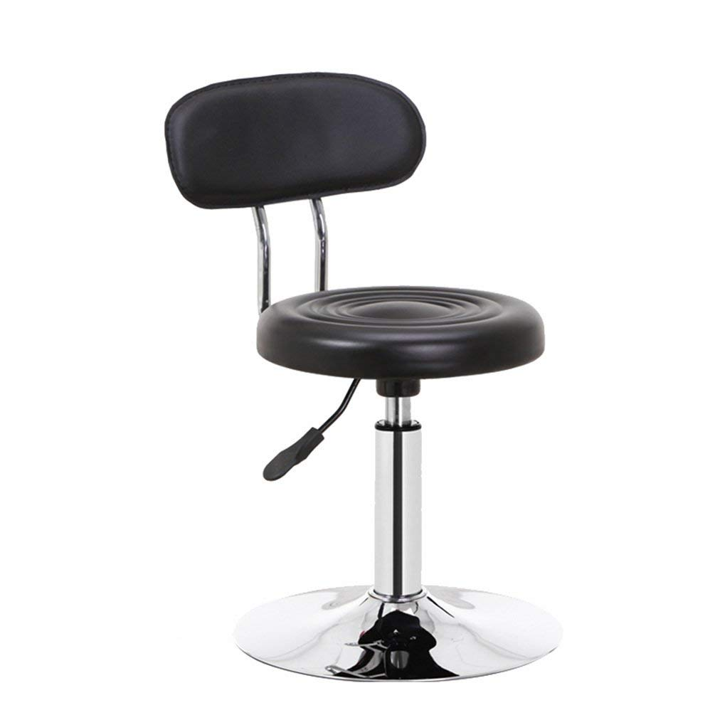 Rotatable Backrest Chair, Household Computer Chair Office Chair Reception Desk Chair Liftable Bar Stool Bar Chair Barstool Beauty Chair 62-74cm (Color : Black)
